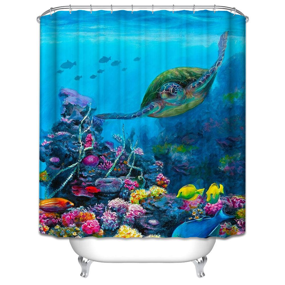Turtle Underwater Shower Curtain Ocean Tropical Sea Coral Fi