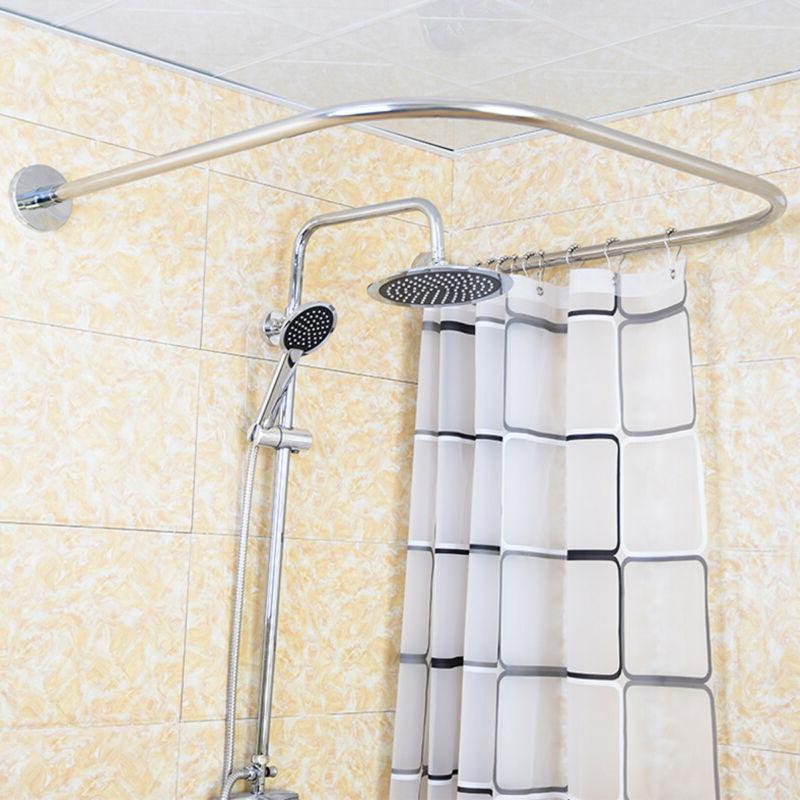 U Shaped Shower Curtain Rod Pole Steel Extendable