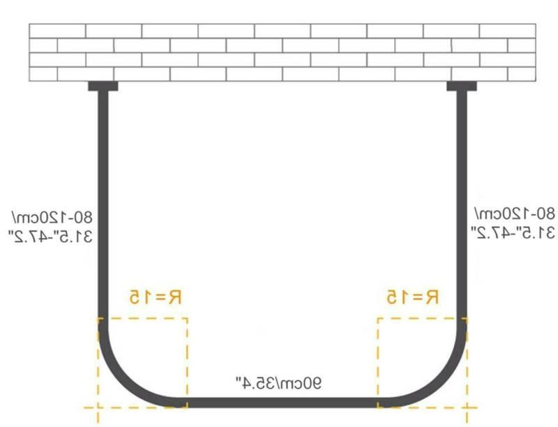 U Shaped Curved Shower Curtain Rod Pole Steel Extendable Punch Free