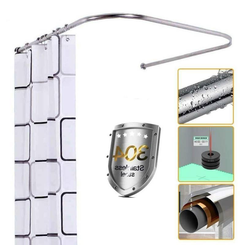 u shaped curved shower curtain rod pole