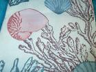"UNDER THE SEA SHELLS & SEA LIFE FABRIC SHOWER CURTAIN. 70"" X"