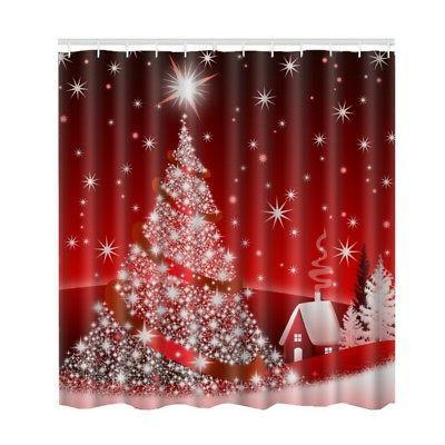 US Christmas Waterproof Shower Xmas Decor Polyester 12