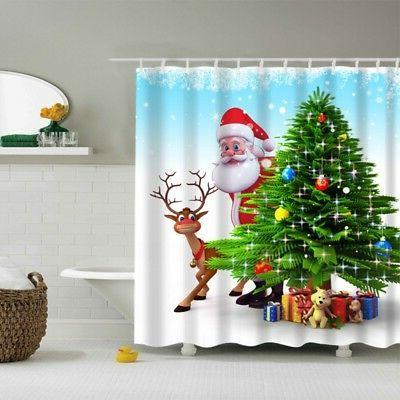 US Christmas Waterproof Bathroom Shower Curtain Xmas Polyester 12 Hooks