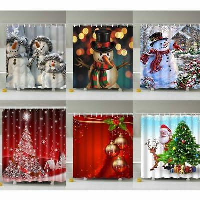US Christmas Waterproof Bathroom Shower Curtain Xmas Decor P