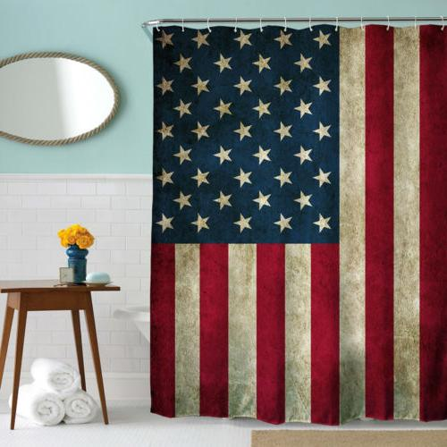 US Fabric Bathroom Curtain Printed Waterproof