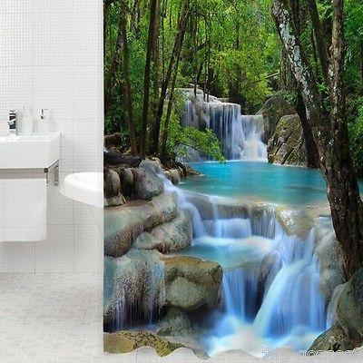 US Ship 3D Bathroom Shower Curtain Curtains 180CM