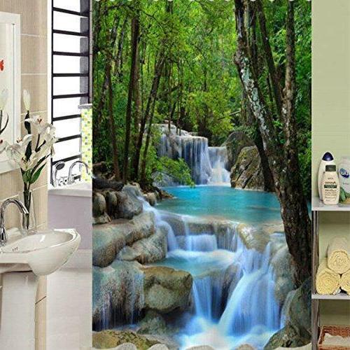 us ship 3d waterfall bathroom shower curtain