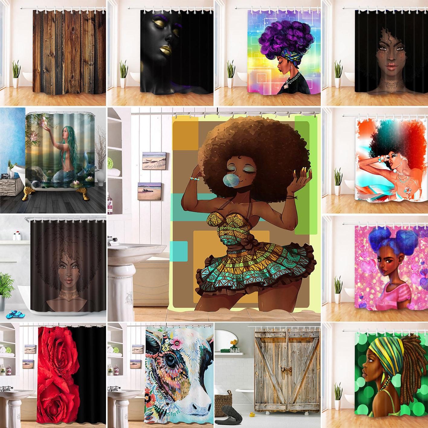 US Afro American Fabric Shower Curtain