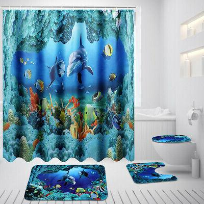 US 1.8M Dolphin Bathroom Shower Curtain Rug Mat Set