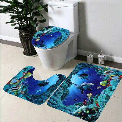 US Waterproof Dolphin Bathroom Curtain Rug Set