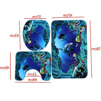 Dolphin Sea Shower Curtain Toilet Set