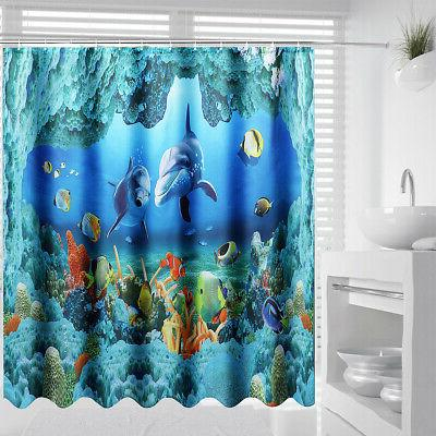 US Waterproof Dolphin Sea Bathroom Curtain Toilet Rug Set