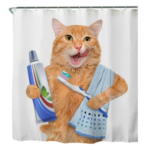 Shower Curtain Nature Animal Printing W/Hooks