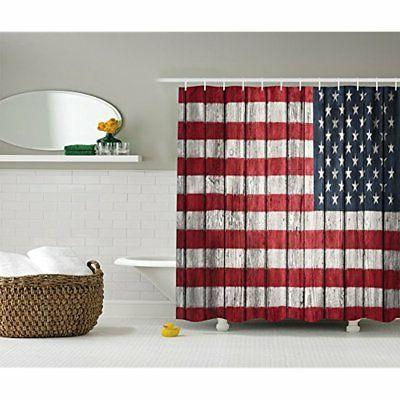 USA Flag Decor Shower Curtain Set By Ambesonne, Fourth Of Ju
