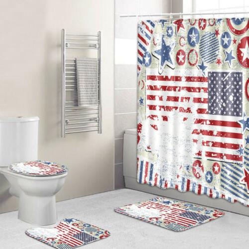 USA Curtain Fourth of July Independence Day Bath Rug Mat Decor