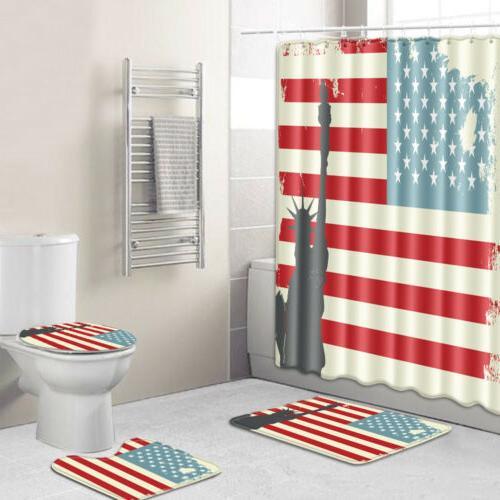 USA Patriot Shower Fourth of Day Rug Decor