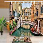 Venice Italy House and Ships Waterproof Bathroom Fabric Show