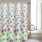 Victoria Floral Abstract Printed Canvas Shower Curtain, Purp