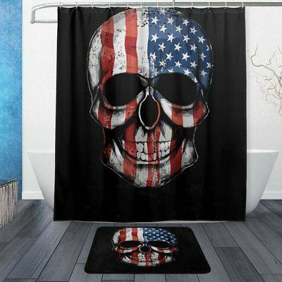 ALAZA Vintage American Flag Skull Waterproof Polyester Fabri