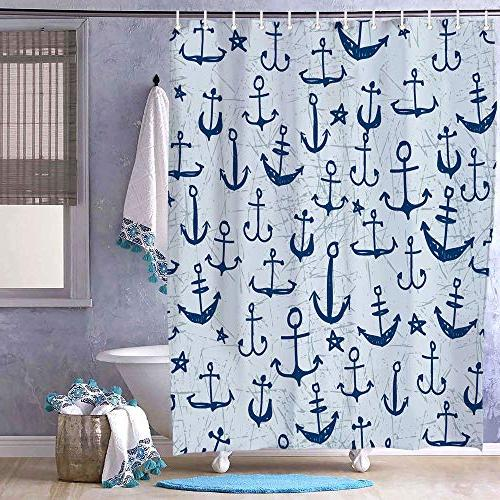 Vintage Navy Anchors Shower Fabric Resistant Waterproof Washable Bath Bathroom
