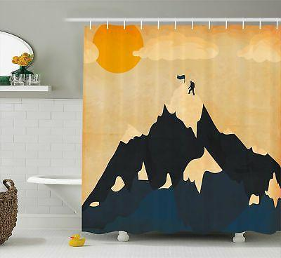 Ambesonne Vintage Shower Curtain Man on Mountaintop with Fla