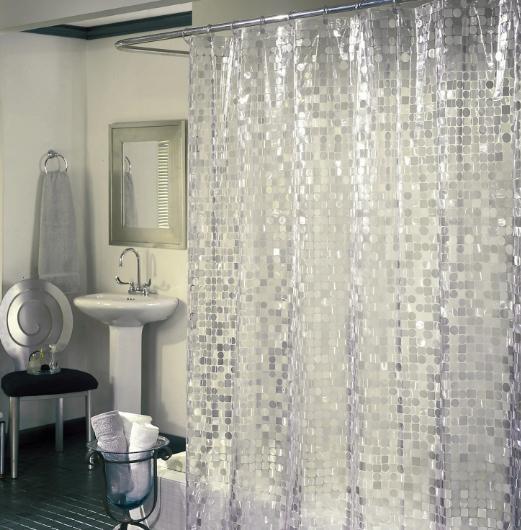 Vinyl Shower Curtain White Silver Bathroom Accessories Circl