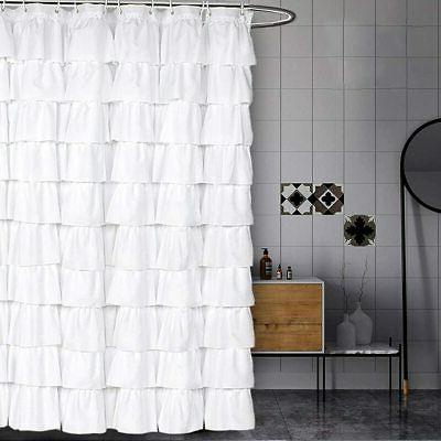 volens white shower curtain fabric ruffle