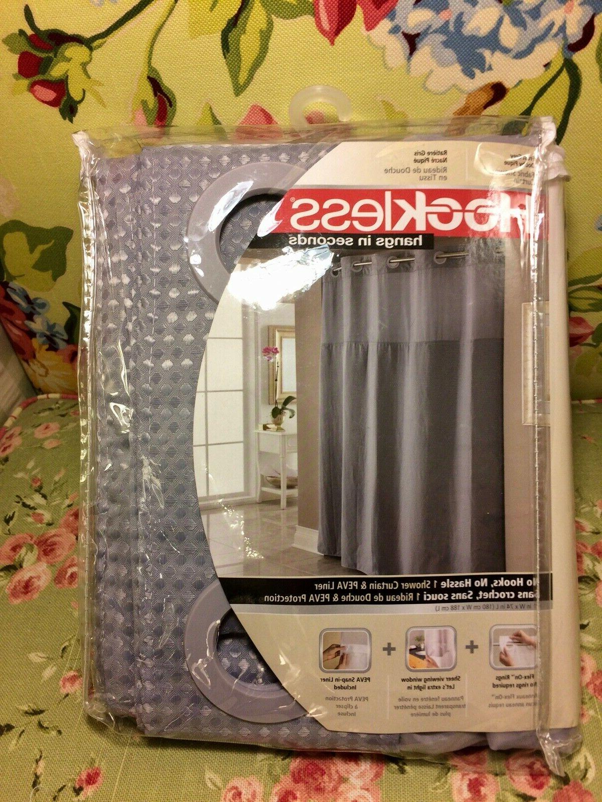 Hookless Shower Curtain With Snap In Liner Shower Curtain