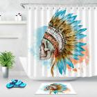 Watercolor Skull with Feathers Shower Curtain Liner Bath Acc