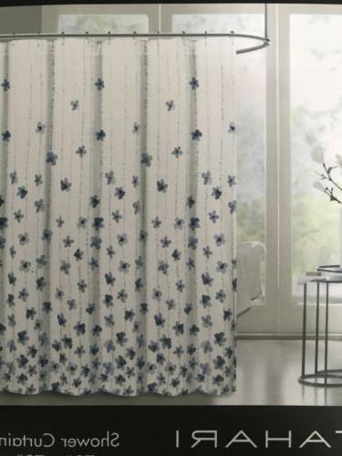 Tahari Home Watercolor Vines Fabric Curtain Blue White
