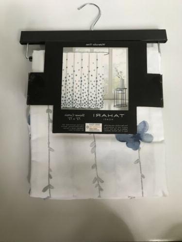 Tahari Fabric Shower Curtain White Gray