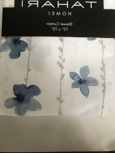 watercolor vines fabric shower curtain blue white
