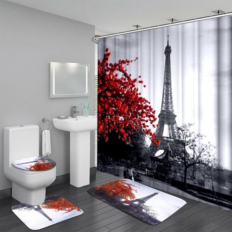 waterproof bathroom shower curtain 3pcs bathroom bath