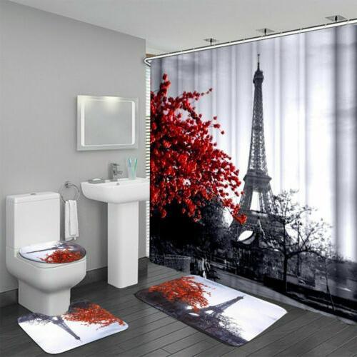 Waterproof Bathroom Shower Curtain Anti-Slip Bath Mat Set To