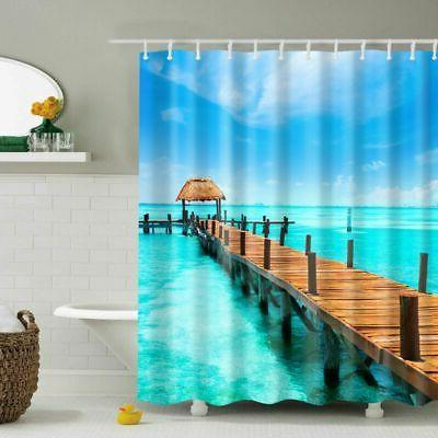 Waterproof Bathroom Shower Curtain Fabric Landscape Animal P