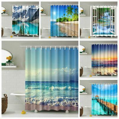 waterproof bathroom shower curtain fabric landscape tree