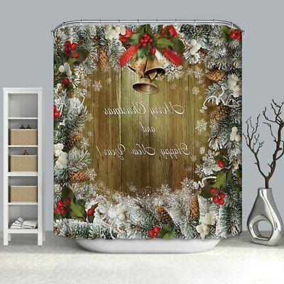 Waterproof Fabric & 12 Hooks Shower Curtain Mat Christmas Snowman Tree