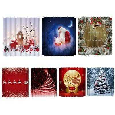 Waterproof Fabric & Hooks Shower Curtain Mat Snowman Tree