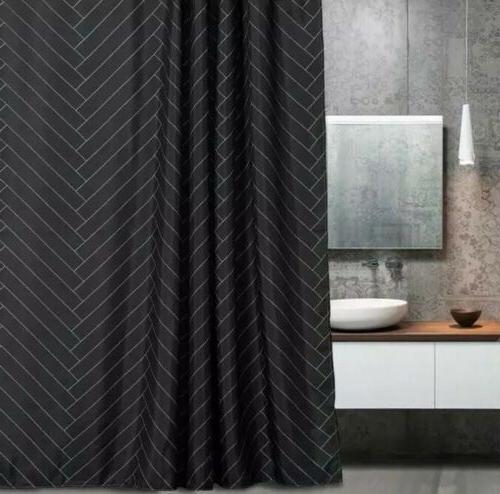 waterproof fabric black shower curtain 71 x