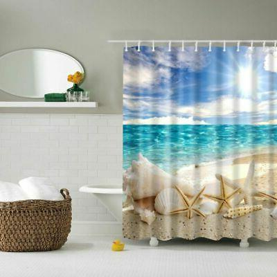 Waterproof Fabric Curtain Bathroom Beach Ocean Seashell