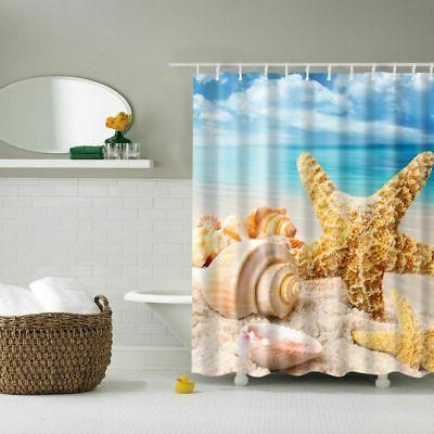 Waterproof Fabric Bathroom Beach Ocean Decor Seashell