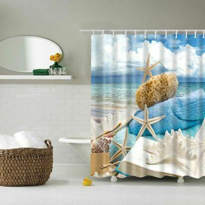 Waterproof Fabric Shower Bathroom Beach Decor Seashell Bath
