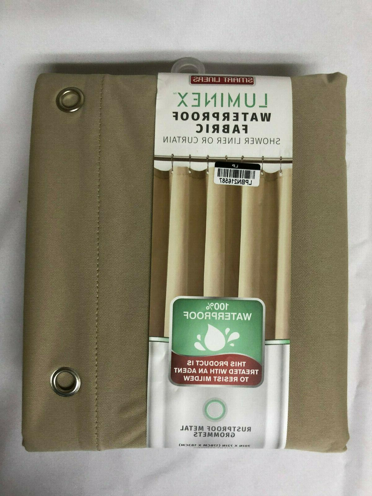 waterproof fabric shower curtain or liner beige