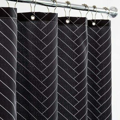 "Aimjerry Waterproof Fabric Curtain Striped 72"""