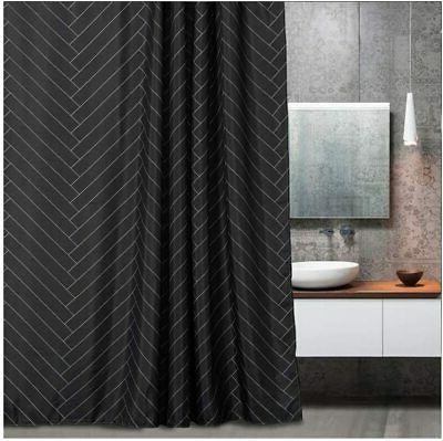 waterproof fabric shower curtain polyester striped black