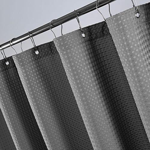 Waterproof Grey 72 inch Length Waffle Weave Shower Curtain