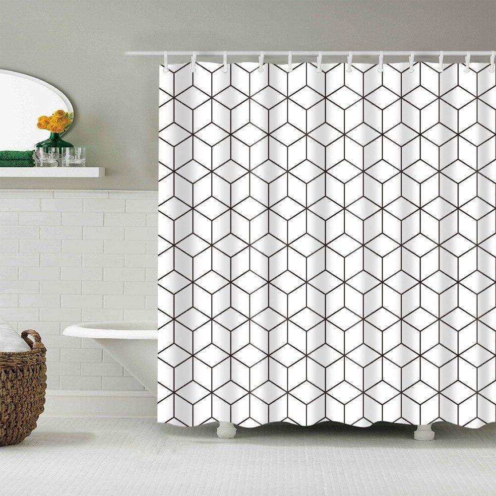 Waterproof Bathroom Polyester <font><b>Fabric</b></font> Geometric Pattern Multi-size <font><b>Shower</b></font>