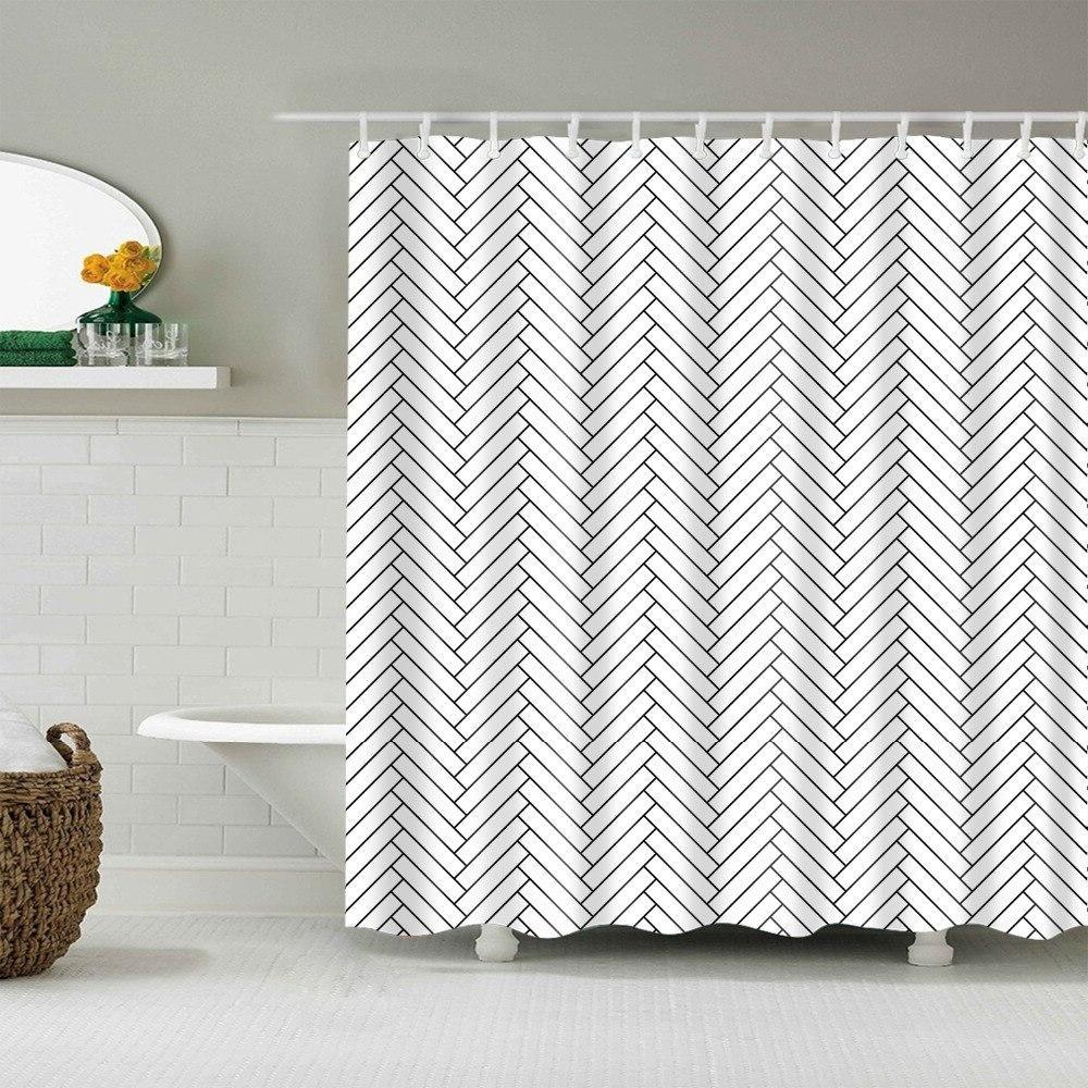 Waterproof Bathroom Decor Polyester <font><b>Fabric</b></font> Pattern <font><b>Shower</b></font> <font><b>Curtains</b></font>