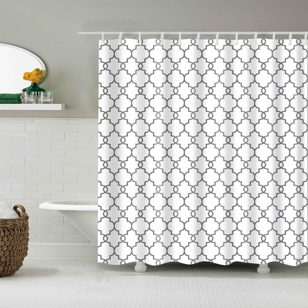 Waterproof <font><b>Curtains</b></font> <font><b>Fabric</b></font> <font><b>Shower</b></font> Geometric Pattern Multi-size
