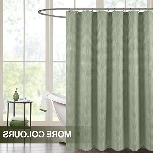 waterproof shower curtain olive waffle